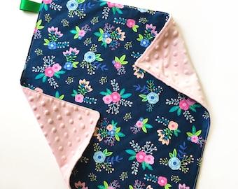 Floral Lovey Blanket // Minky Blanket // Baby Girl Lovey // Security Blanket // Baby Shower Gift