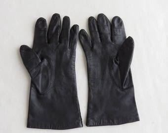 Vintage Leather Gloves - Black - Women's Size 7 Ladies driving gloves