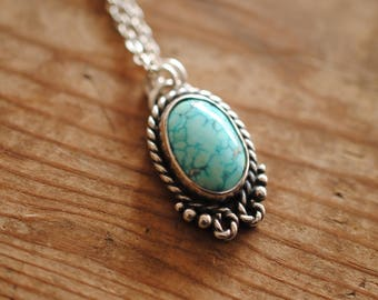 Large Western Turquoise Pendant | Sterling Silver