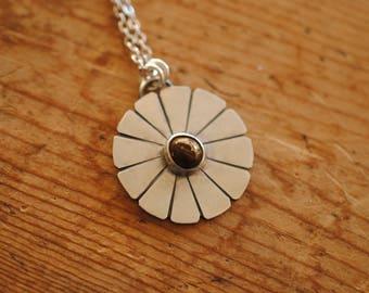 Flower Medallion Necklace | Sterling Silver