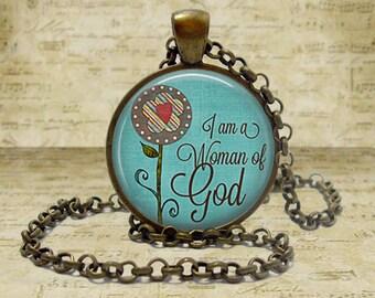 I am a Woman of God necklace Christian Necklace Christian Gift Religious Jewelry I am a Woman of God keychain Keyfob Bible Study Gift