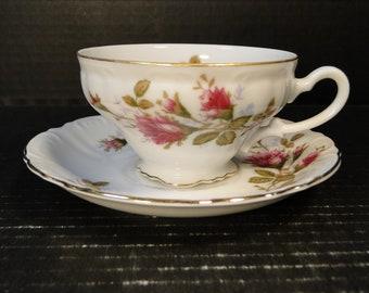 Fine China of Japan Royal Rose Tea Cup Saucer Set Vintage 50's EXCELLENT!
