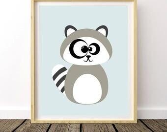 Baby Raccoon Print, Raccoon Wall Decor, Raccoon Art Print, Forest Art Nursery, Forest Decor Nursery, Animal Nursery Theme, Nursery Wall Art
