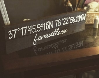 Coordinate sign, where it all began, first home coordinates, wedding gift, housewarming gift, couples