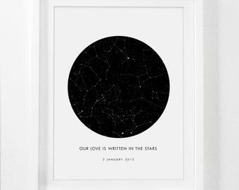 Custom Star Map Print, Custom Framed Star Map, Wedding Constellation, Custom Sky Map Birth, Birth Star Map, Mothers Day Gift, Birth Gift