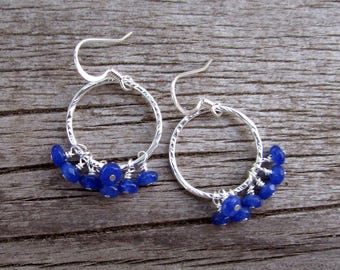 Lightweight silver and blue candy jade dangle earrings // ready to ship