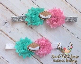 Baby Girls S'mores Headband - Toddler Girls S'mores Headband - S'mores Birthday Headband - Girls S'mores Birthday Bow - S'mores Party Supply