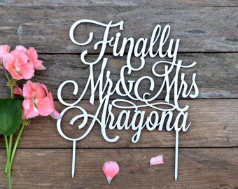 Cake Topper Wedding Cake Topper Custom Mr and Mrs Personalized cake toppers for wedding Monogram Cake Topper gold silver