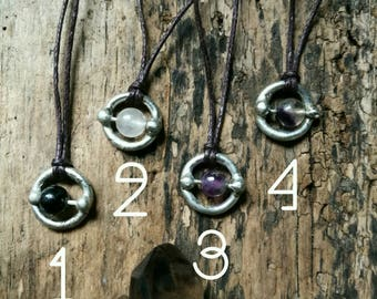 Spinning fidget pendant - anxiety jewellery, ADHD necklace, handmade silver soldered necklace, meditation necklace, crystal jewellery, gifts