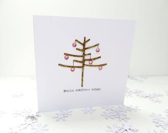 Pink and Gold Christmas Tree Card, Girls Handmade christmas card, Daughter Personalised Christmas card, babies first christmas keepsake card