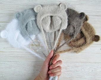 Bear hat  Newborn fuzzy bear hat  Fluffy bear hat  Newborn bear bonnet   Baby bear hat   Infant bear hat    Knit bear bonnet