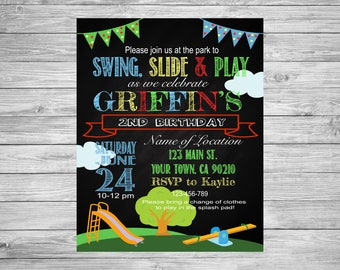 Playground Birthday Invite, Park Birthday Invite, Playground theme, Park theme, Playground Party, Park Party, Park Chalkboard Invite