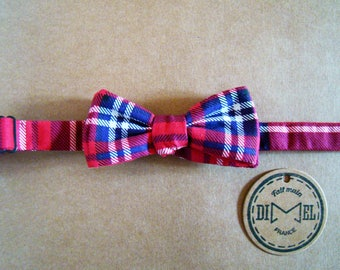 Bow tie red Plaid adjustable classic or pointed to order