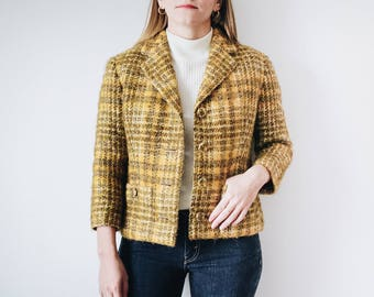 60s Mustard Yellow Cropped Tweed Jacket, 60s Yellow Plaid Jacket, XS Plaid Blazer, Extra Small Blazer, Mustard Yellow Blazer, Tweed Jacket