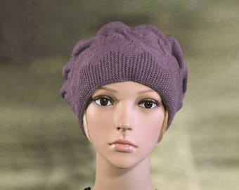 Winter knit beret, Ladies knit beret, Womens winter beret, Warm wool beret, Women's beret wool, Knitted beret  lady, Wool beret women