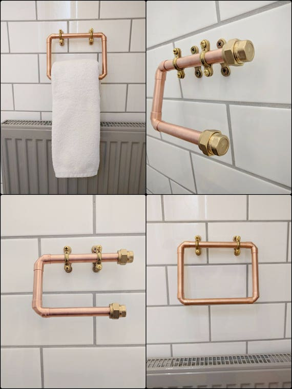 Copper Toilet Roll And Towel Holder Set Industrial Copper