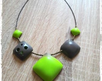 Crew neck grey and lime green polymer clay