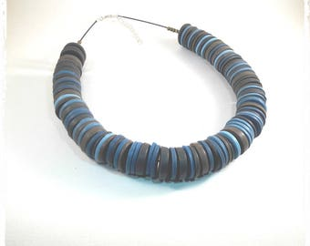 Choker necklace shades of blue polymer clay