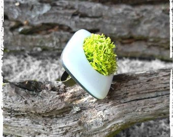 White and green greenery designer ring