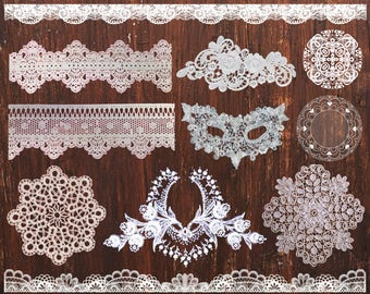 Rustic Wedding Digital lace clipart Lace clip art Lace Border Wedding Clipart White Lace Overlay Lace Decoration of invitations Wedding art