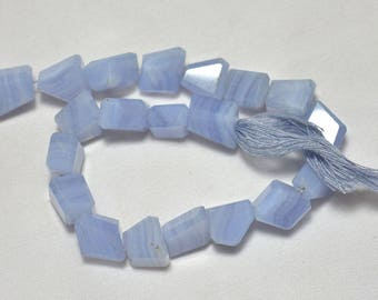 Blue Lace Step Cut Tumbles ,Blue Lace Agate Step Cut Nugget Beads, 9x12mm Beads, Gemstone For Jewelry 5 Inches Strand