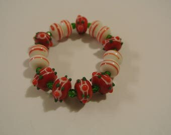 Red, White and Green Christmas Bracelet