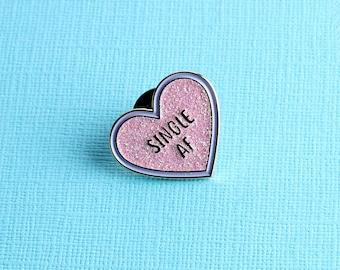 Single AF Pink Glitter Heart Enamel Pin // Lapel Pin Badge/Brooch