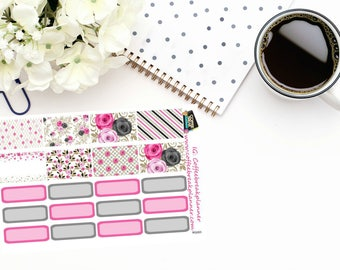 Planner Stickers|Rose Garden DecorativeHalf Box Stickers and Quarter Box Stickers|For use in a variety of planners and journals|RG003