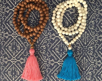 Wood and Gold Bead Tassel Necklace