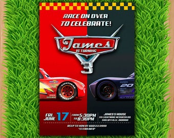 Disney Cars 3 Invitation - Cars 3 Party Invite - Cars 3 Birthday Invite - Lightning Mcqueen Jackson Storm Printable Movie invite
