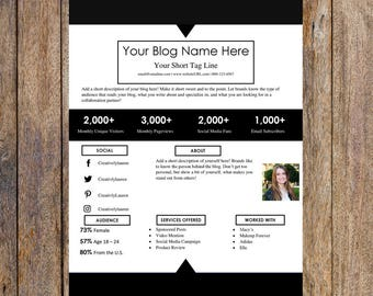 Minimal One Page Media Kit Template   Blog Media Kit, Branding Kit, Blog Kit, Branding Package   Editable for MS Word   Instant Download