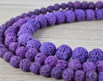 Natural Lava Stone Violet Purple Beads  Round 6mm/8mm/10mm Gemstone Jewelry Loose Beads 15.5 inch Strand