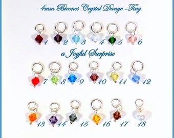 Birthstone Charm, Bead charm, Add on a birthstone to any listing, birthstone 4mm bicone crystal, birthstone dangle