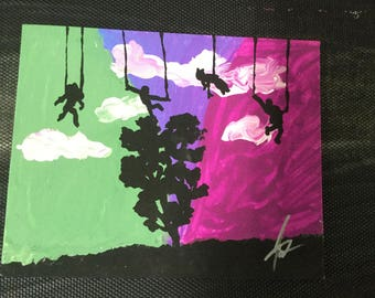 MARIONETTES puppets in the sky original 8x10 art painting one of a kind pop art on canvas