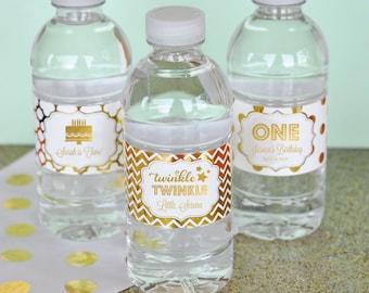 Personalized Metallic Foil Weatherproof Water Bottle Labels - Birthday - 24 pieces
