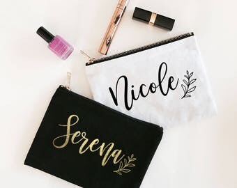 Custom Name Canvas Cosmetic Bag - Bridesmaids Gifs - Maid of Honor - Bachelorette Party