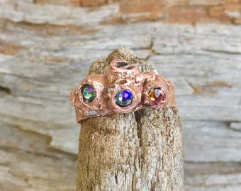 Statement ring, Copper ring, Gift for her, crystal ring, Swarovski crystal ring, stacking ring, mermaid ring