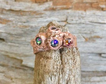 Ring, Statement ring, Copper ring, Gift for her, crystal ring, Swarovski crystal ring, stacking ring, mermaid ring