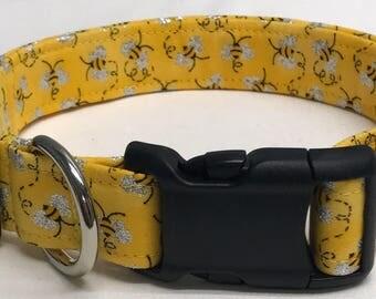dog collar, mini glitter bees, bumble bees, bee dog collar, bee collar, bumble bee dog collar, bumble bee collar, summer dog collar