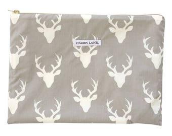 Woodlands Deer Zippered Wet Bag  | Cream, Gray, Deer head, Woodlands Gender Neutral Travel Bag