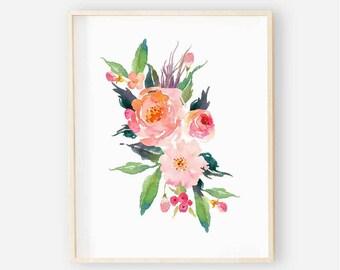 Bright Floral Nursery Digital Print | Nursery Wall Art | Floral Wall Art | Floral Baby Girl Nursery Decor | Watercolor Floral Art 1