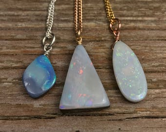 Australian Opal necklace / genuine australian fire opal necklace / rose gold silver / opal jewelry / October birthstone / gift for her