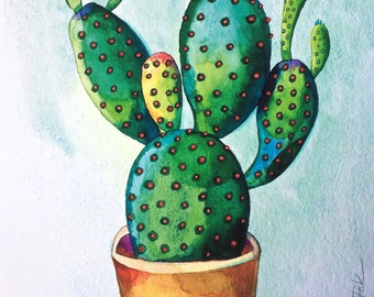 Cactus fine art archival print, succulent, urban jungle wall decor,gift,giclee print, Illustration