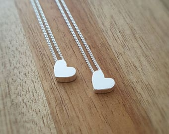 Heart Necklace/Sterling Silver Heart Necklace/Silver Heart Necklace/Dainty Heart Necklace/Tiny Heart Necklace/Bridesmaid Gift/Gift For Her