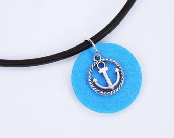 Necklace anchor on blue background made of felt on black leather strap silver maritime pendant blue home port seafaring jewelry