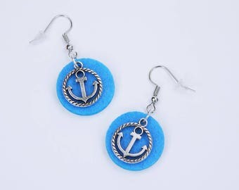 Earrings anchor on blue background made of felt-maritime earrings silver Pendant earrings Blue Home port-Seafaring jewelry