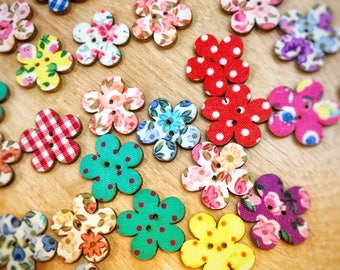 2 hole cute wooden floral buttons, 20mm wood buttons, mixed buttons, sewing crafts, 10 per pack, cute buttons