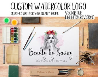CUSTOM watercolor logo design made just for you on any theme you like with vector logo and UNLIMITED REVISIONS