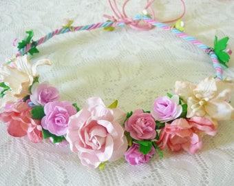 Flower headpiece Pink Old rose Flower headband  /Flower headband /Flower headpiece /Flower head wreath