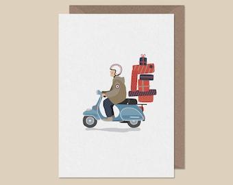 Vespa Birthday card.lambretta birthday card.mod card.Quadrophenia card.northern soul card. sixties card.retro birthday card.
